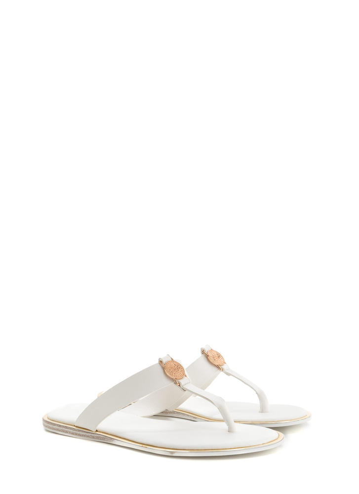 Mystic Spiral Faux Leather Sandals WHITE