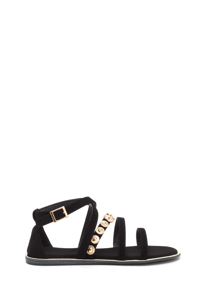 Strappy Sunburst Caged Sandals