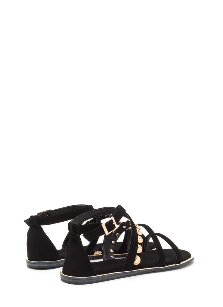 Strappy Sunburst Caged Sandals BLACK