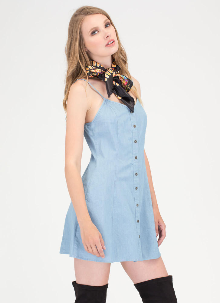 Easy Breezy Button-Up Chambray Dress BLUE