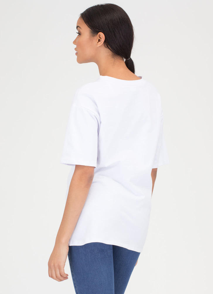 Front And Center Cut-Out Oversized Tee WHITE