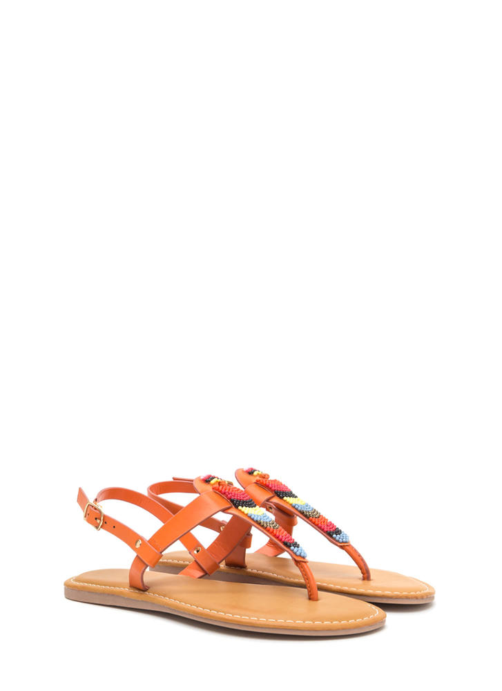 Bead You On T-Strap Faux Leather Sandals ORANGE