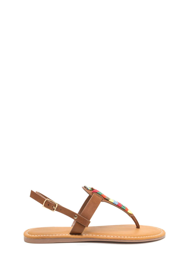 Bead You On T-Strap Faux Leather Sandals TAN