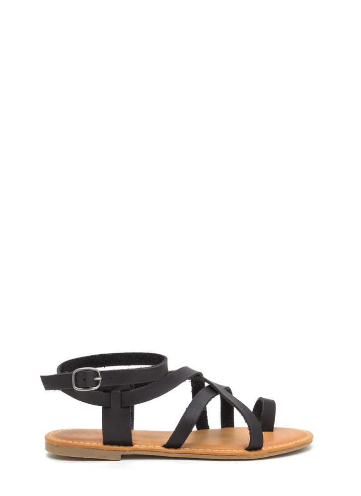 Cage Turner Strappy Faux Leather Sandals BLACK