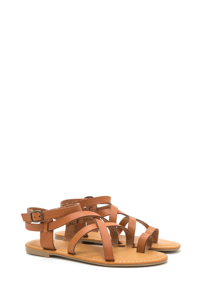 Cage Turner Strappy Faux Leather Sandals TAN