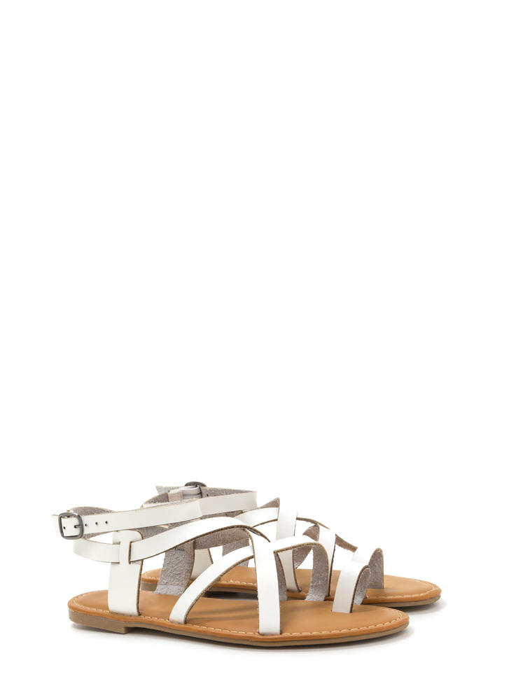 Cage Turner Strappy Faux Leather Sandals WHITE