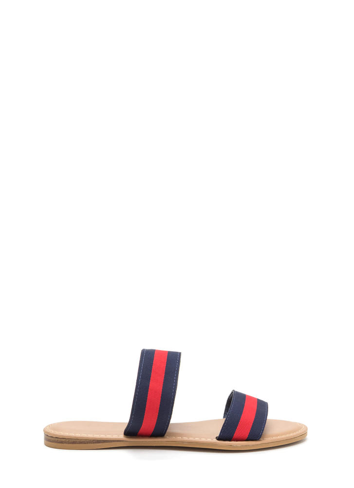 Double Agent Striped Slide Sandals NAVYRED