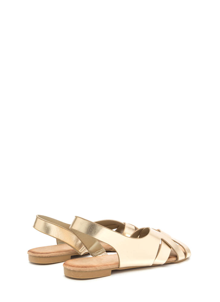 Vacay Vibes Woven Metallic Sandals GOLD