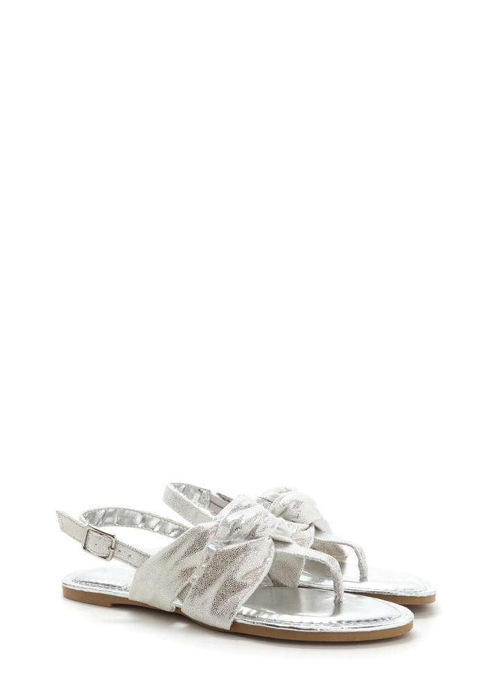 Knotty By Nature Metallic Sandals SILVER