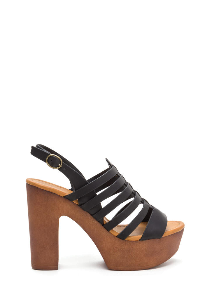 Seventies Bae Strappy Chunky Heels