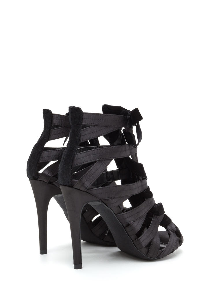Step Into Luxury Satin 'N Velvet Heels BLACK