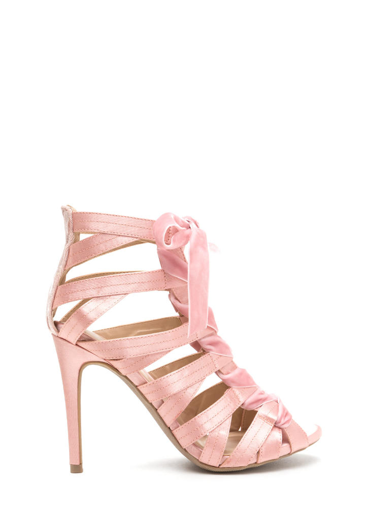 Step Into Luxury Satin 'N Velvet Heels NUDE