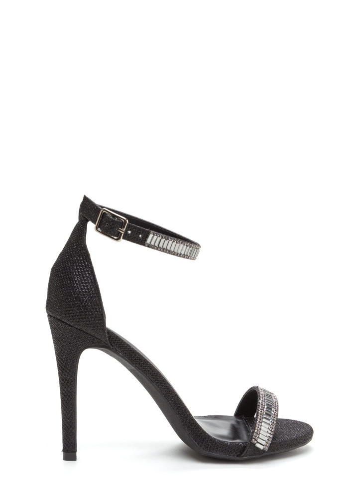 Red Carpet Glam Jeweled Metallic Heels BLACK