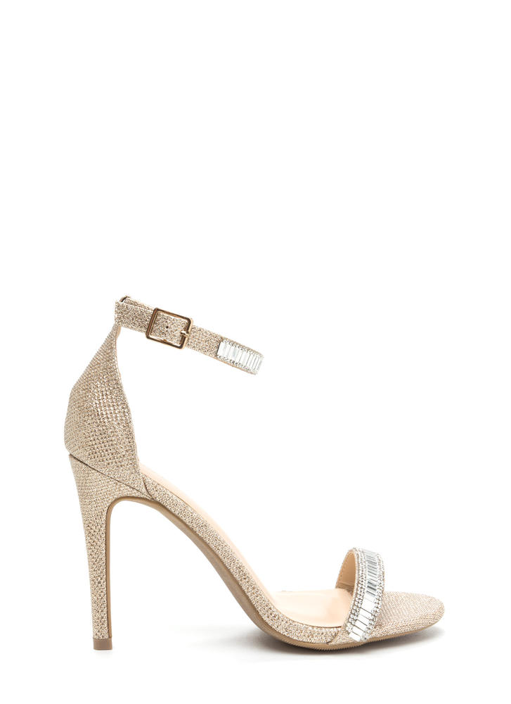 Red Carpet Glam Jeweled Metallic Heels ROSEGOLD