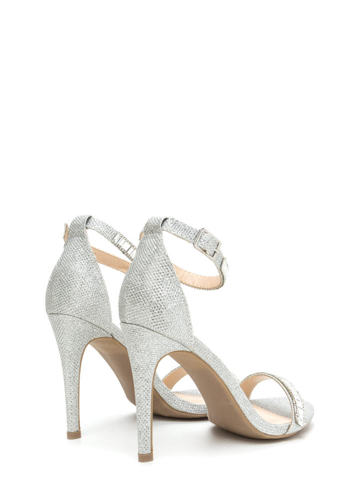 Red Carpet Glam Jeweled Metallic Heels SILVER