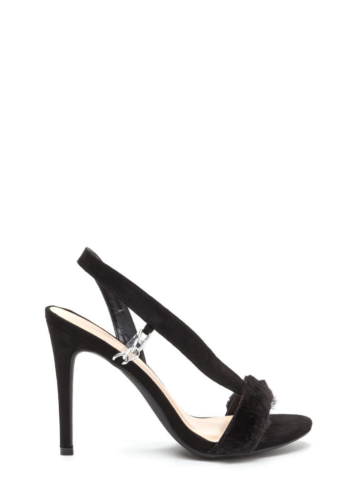Fur Sure Strappy Faux Suede Heels