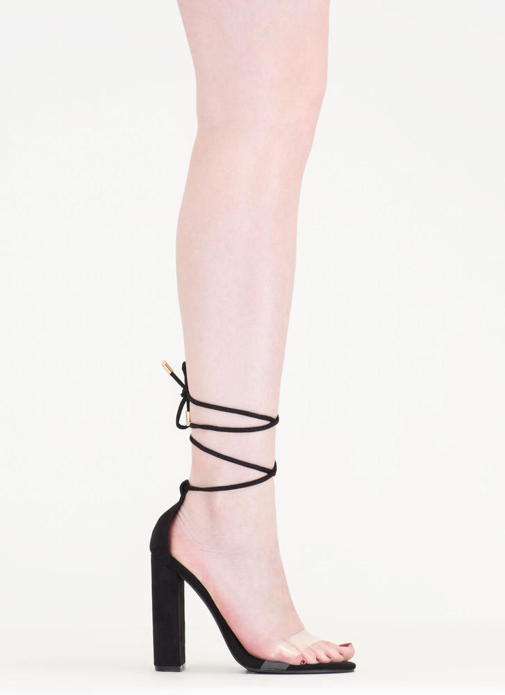 In The Clear Lace-Up Faux Suede Heels BLACK