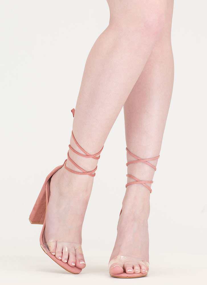 In The Clear Lace-Up Faux Suede Heels BLUSH