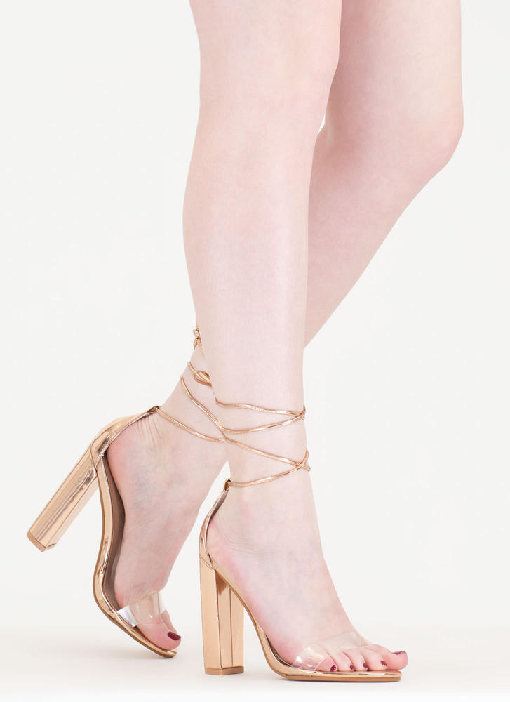 In The Clear Lace-Up Metallic Heels