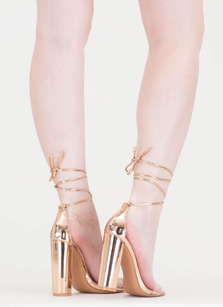 In The Clear Lace-Up Metallic Heels ROSEGOLD