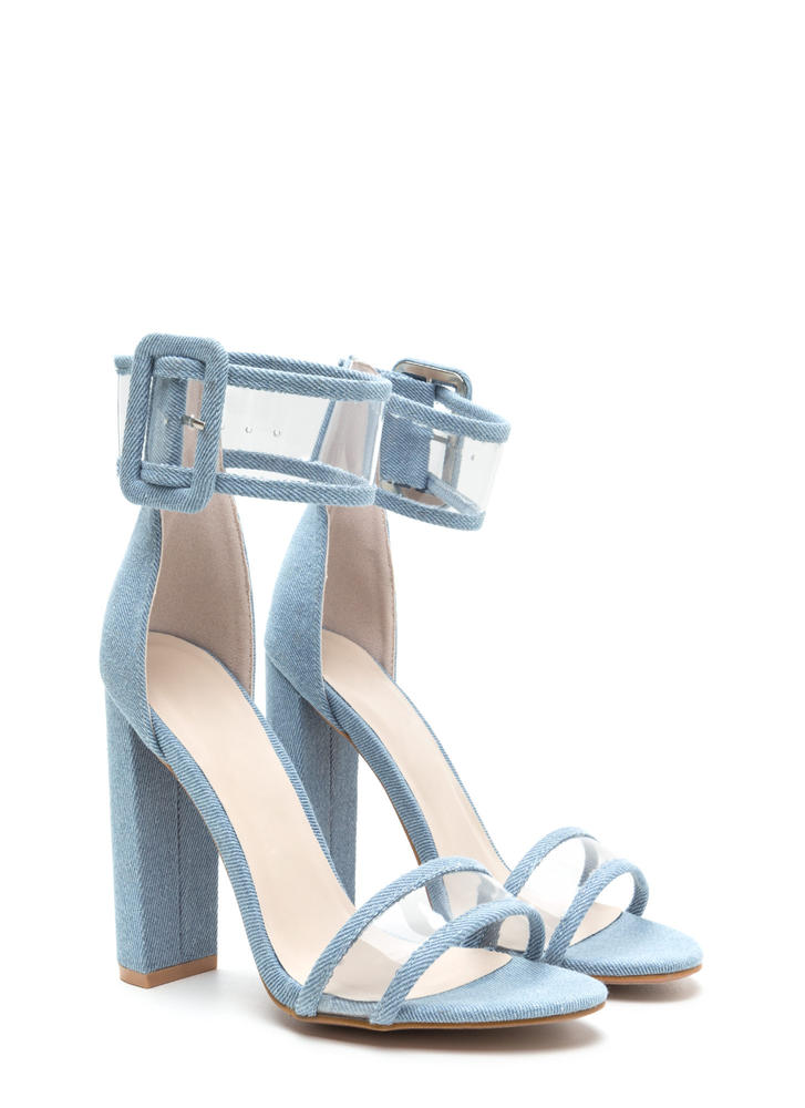 Wide With Wonder Chunky Denim Heels DENIM