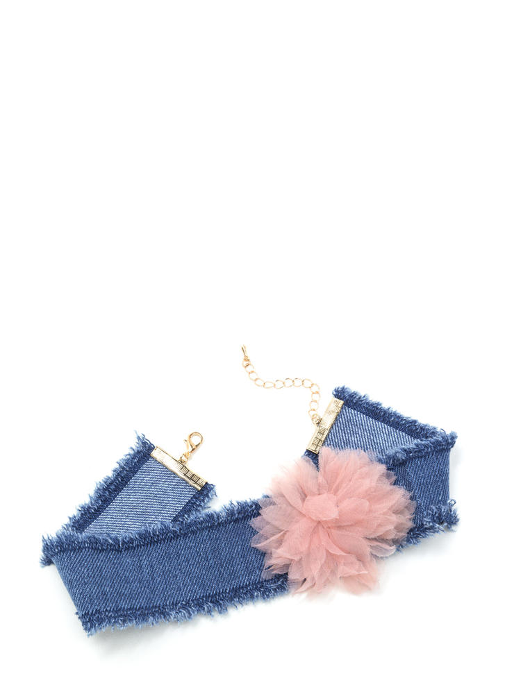 You're Blossoming Fringed Denim Choker