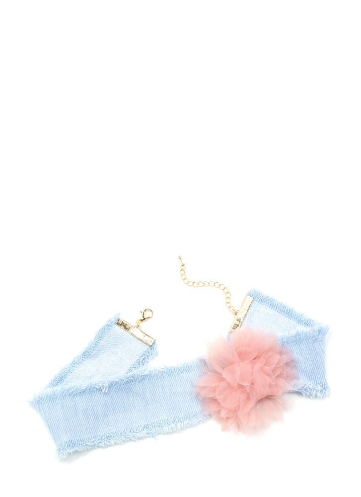 You're Blossoming Fringed Denim Choker LTBLUEPINK