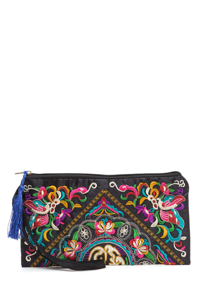 Boho Road Trip Embroidered Clutch