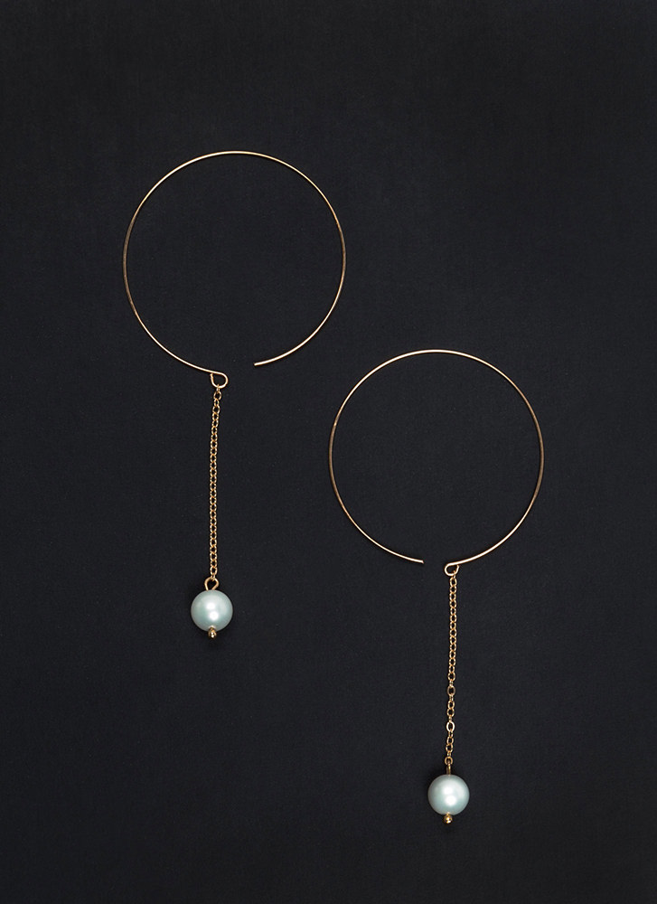 Suspended In Time Faux Pearl Earrings GOLDIVORY
