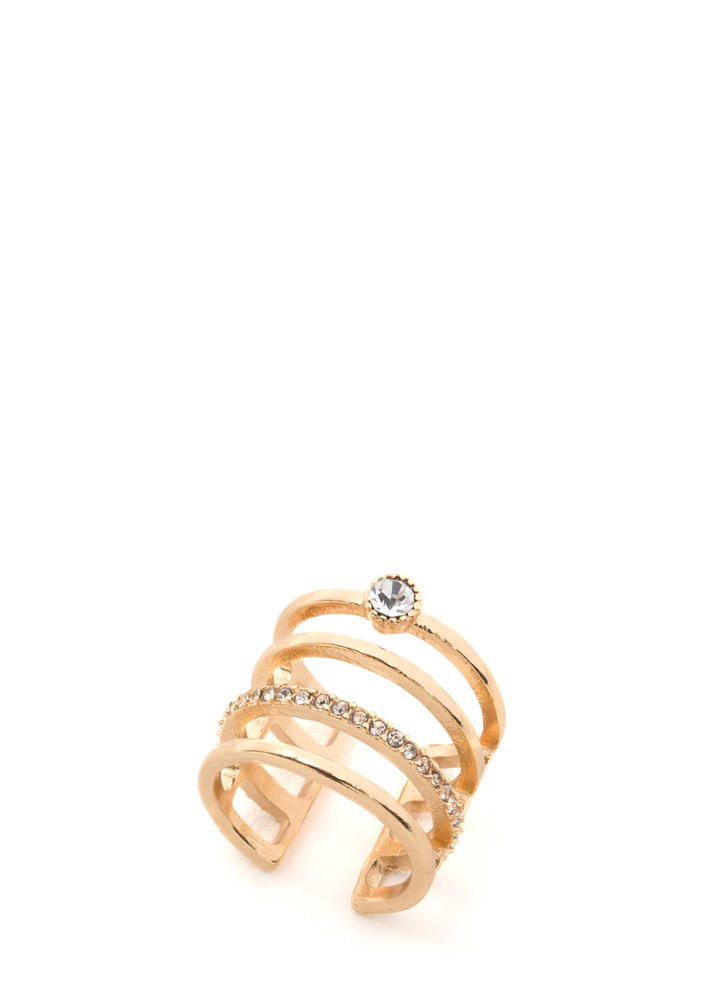 Stack Up Faux Jewel Ring GOLD