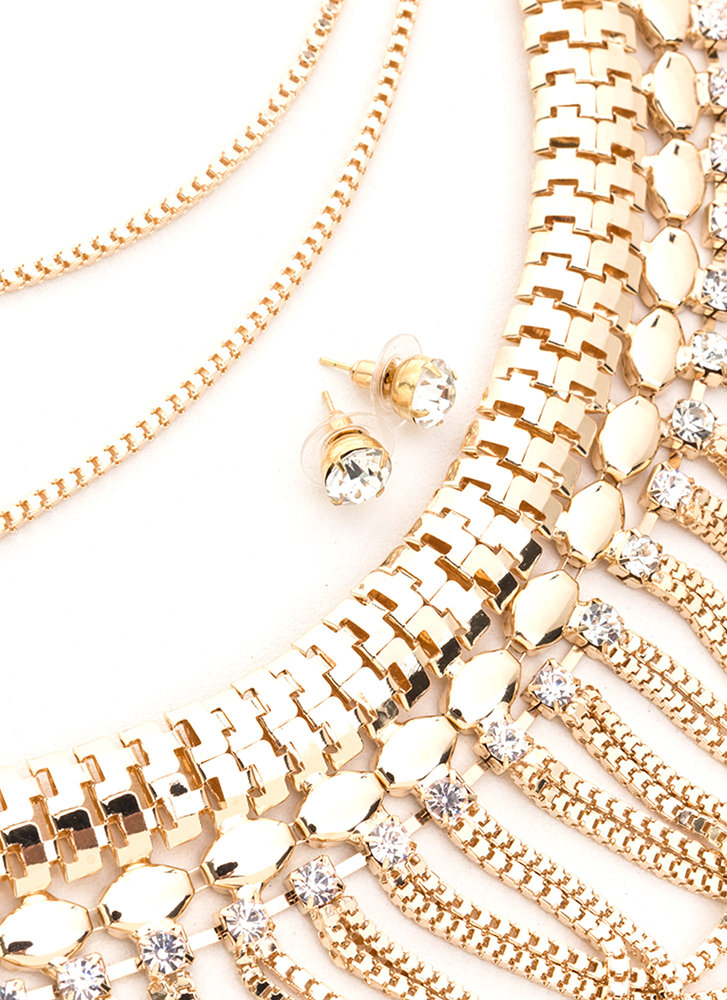 Loophole Layered Statement Necklace Set GOLD