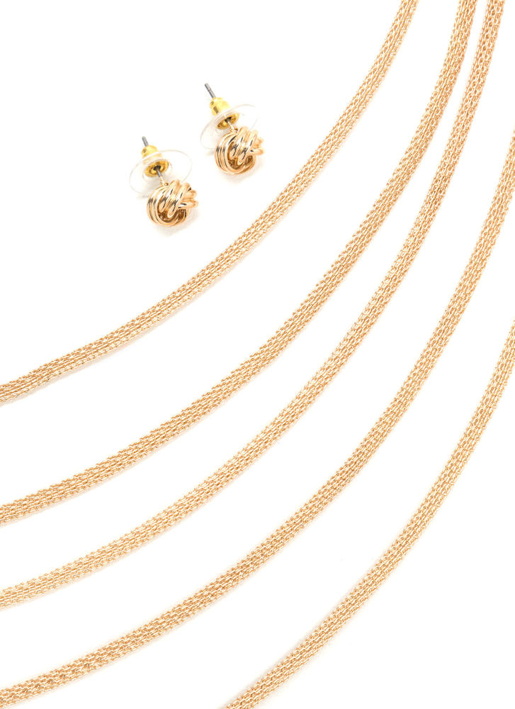 Glam Take Layered Chain Necklace Set GOLD