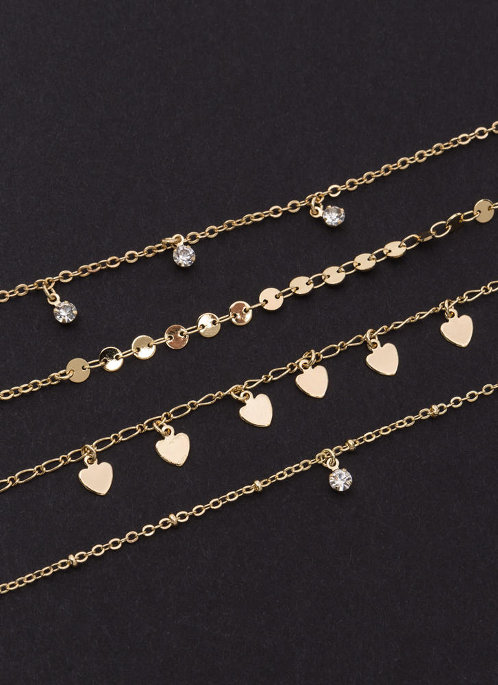 All Four You Chain Bracelet Set GOLD