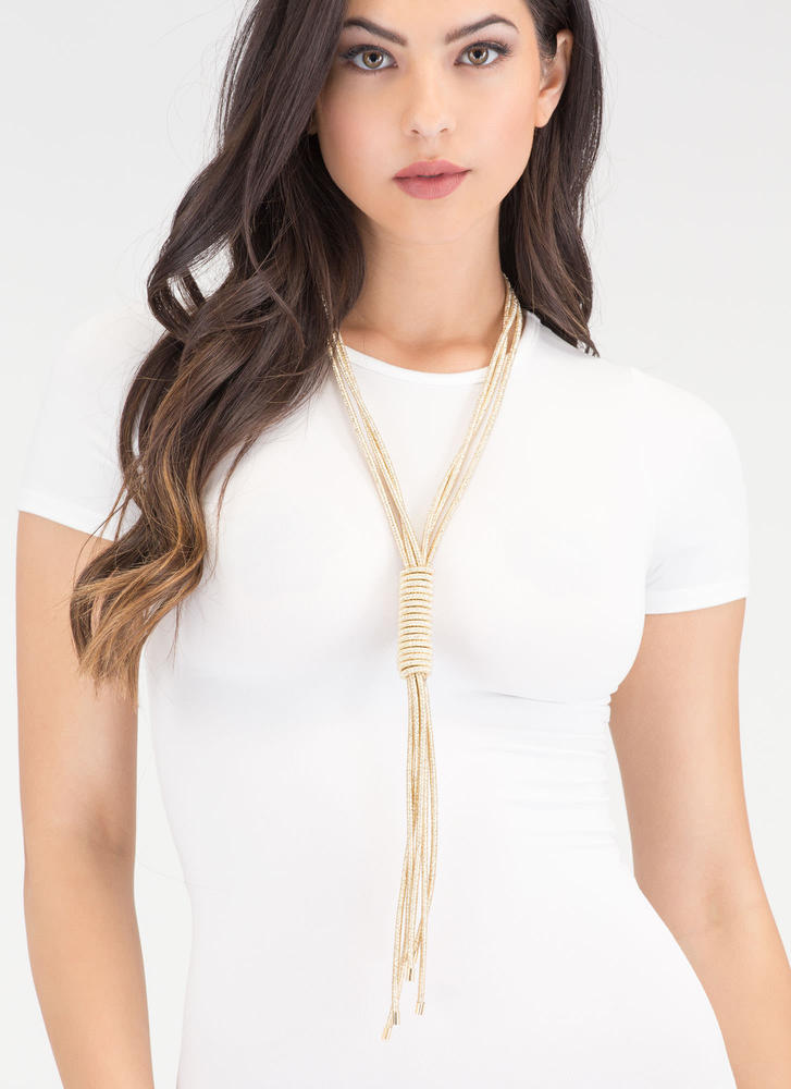 Let's Get Fancy Lariat Necklace Set GOLD