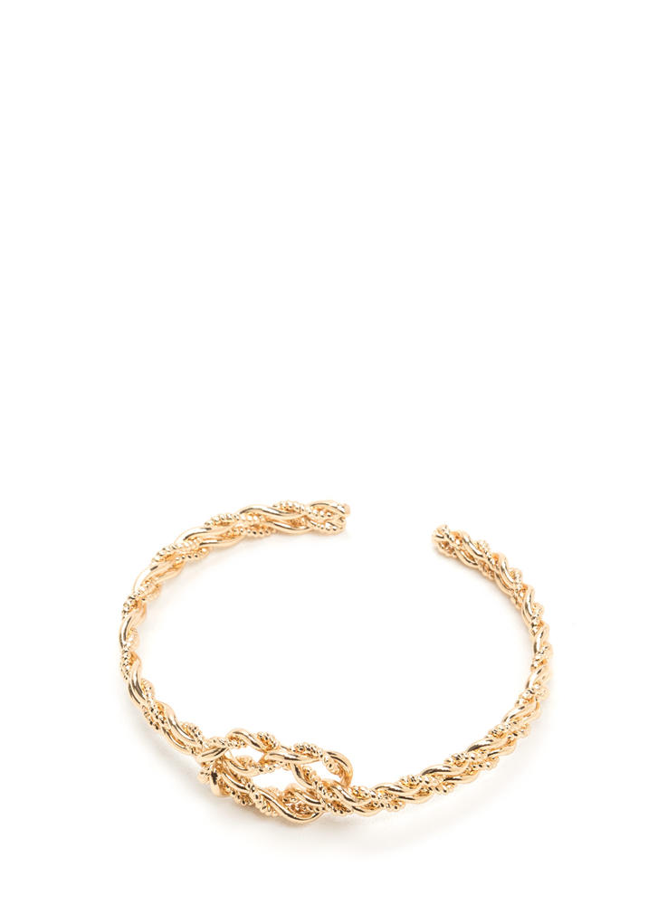 Knot Done Twisted Textured Cuff Bracelet GOLD