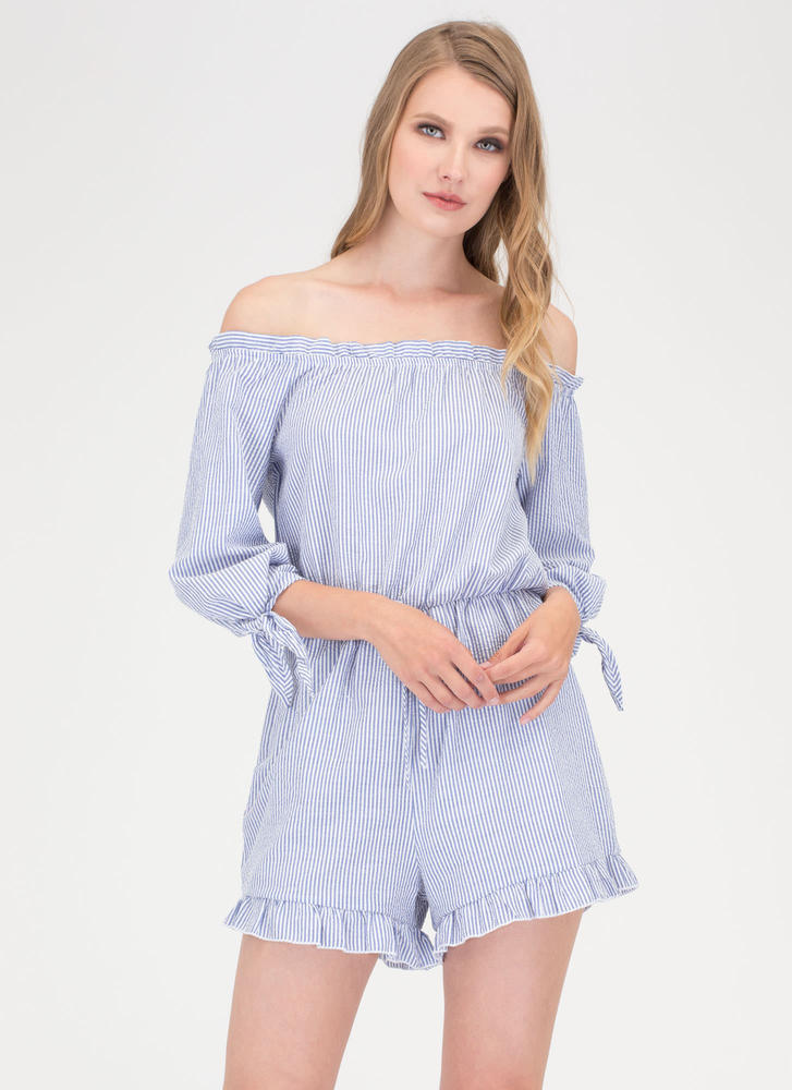 Ruffles And Stripes Off-Shoulder Romper
