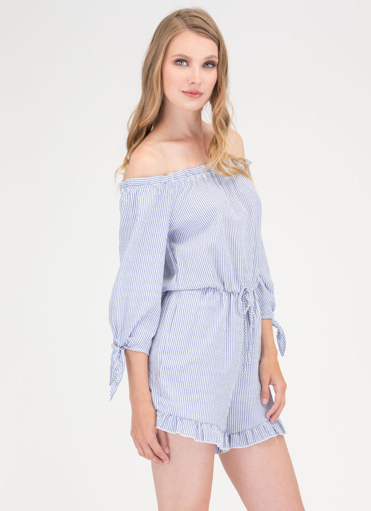 Ruffles And Stripes Off-Shoulder Romper BLUE