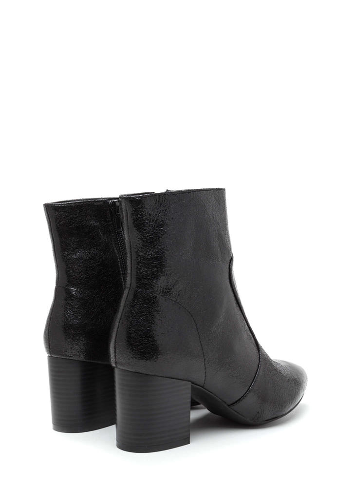 Made Your Point Crackled Chunky Booties BLACK