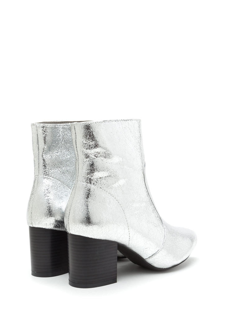 Made Your Point Crackled Chunky Booties SILVER
