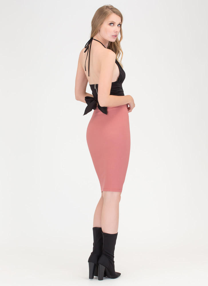 Ahead Of The Curve Pencil Skirt MARSALA