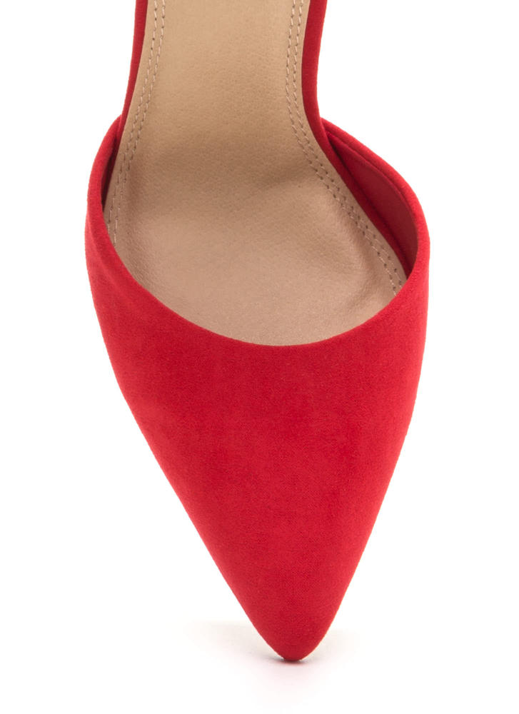 Pom-Dot-Com Pointy Faux Suede Heels RED
