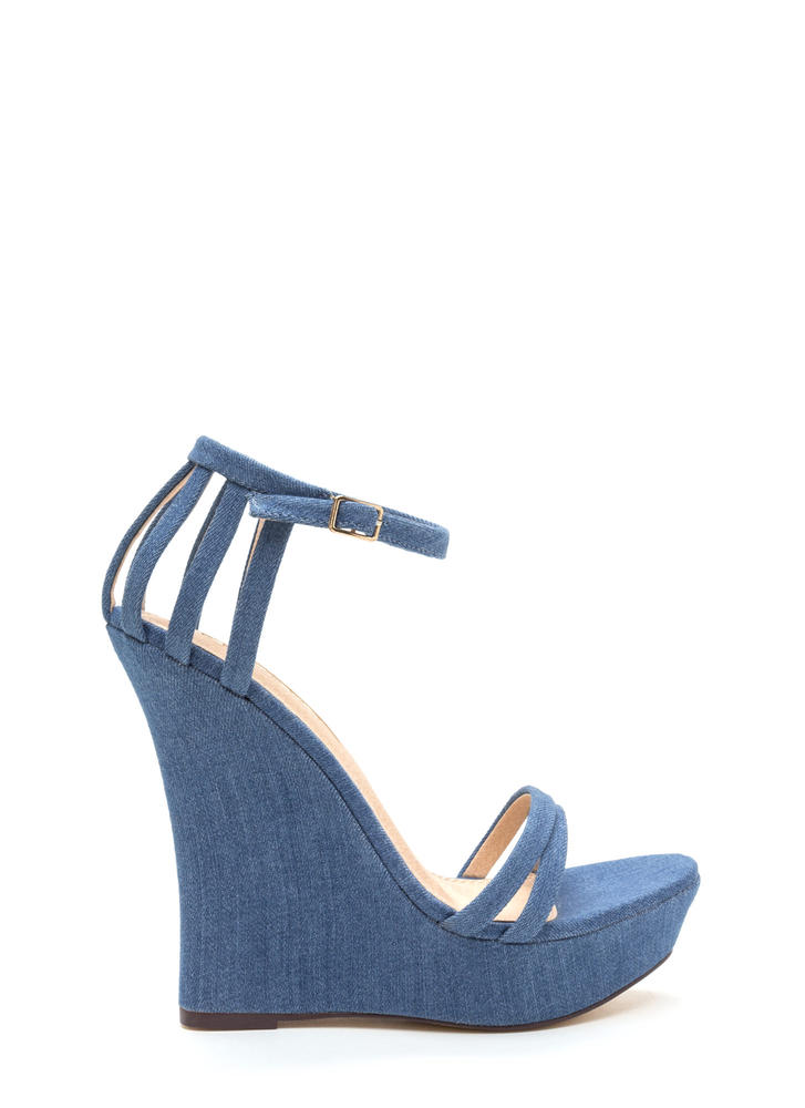 Sky's The Limit Denim Platform Wedges