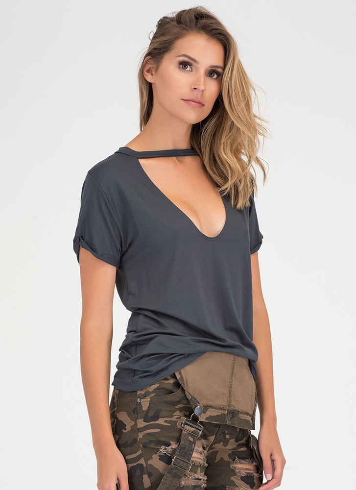 Get It Off Your Chest Cut-Out Top CHARCOAL