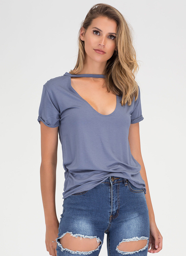 Get It Off Your Chest Cut-Out Top DUSTYBLUE