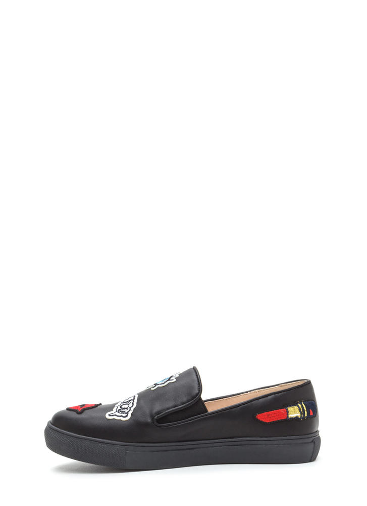 Patched Up Faux Leather Slip-On Sneakers BLACK
