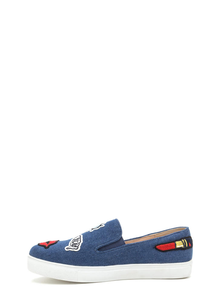 Patched Up Denim Slip-On Sneakers DENIM