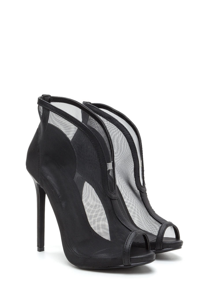Sleek Sculpture Sheer Faux Leather Heels BLACK