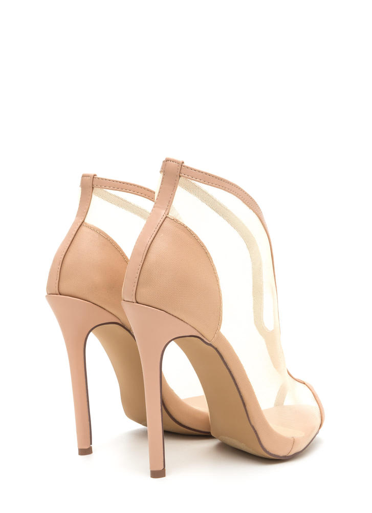 Sleek Sculpture Sheer Faux Leather Heels NUDE
