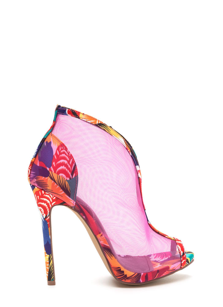 Sleek Sculpture Sheer Printed Heels MULTI
