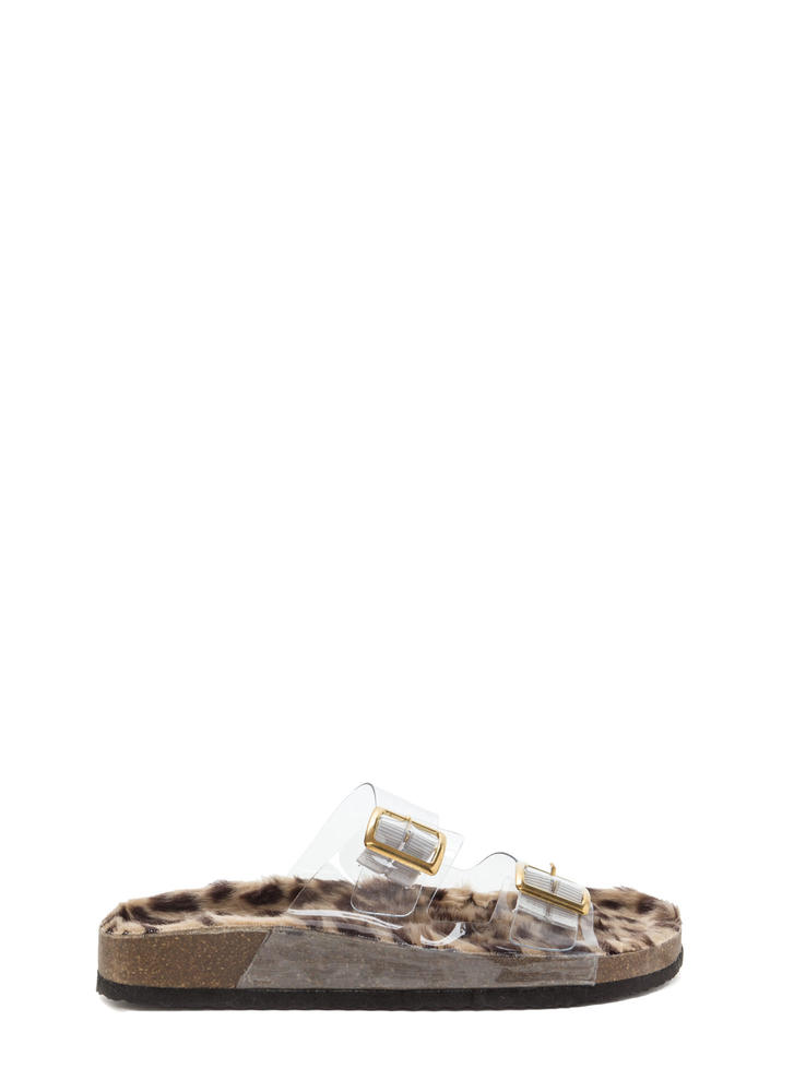 Clearly Wild Strappy Faux Fur Sandals CLEAR